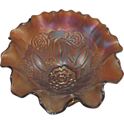 Dugan & Diamond (1916 ) Antque Amethyst Carnival Glass Ruffled edge 8 inch Bowl with dome Double Stemmed Rose pattern