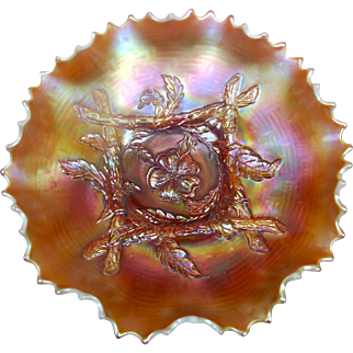 Dugan (1909 - 1931) 9 in dia ruffled & fluted Peach Opalescent Bowl -  Apple Blossom Twigs pattern (interior) & Big Basket Weave Variant on (exterior) **further reduced