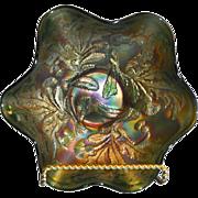 Fenton Christmas: Fenton vintage (1920) Green Carnival Glass 8 inch 6 ruffle Thistle pattern Bowl