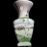 Fenton 2005 Presidents Collection Ltd Edition piece - Lotus Mist Burmese Square 7 1/2 inch Vase - Four HP Scenes