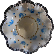 Fenton AWCO decorated Silver Crest Bowl DC Charleton Blue Roses