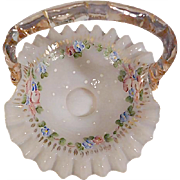 "Fenton 1950s' ""Vintage"" AWCO decorated Charleton Rose Peach Overlay Bridesmaid Basket"