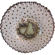 Fenton 1948 AWCO Charleton Fruit and Dots Silver Crest 8.5 inch Plate