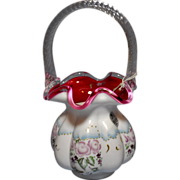 Fenton 1999 Connoisseur Roses on Peach Crest Basket Ltd Ed. #241/1750 K. Plauche' designer  L@@K Bargain