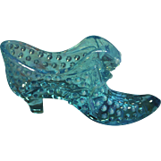 Fenton Hobnail Aqua Cat Head Shoe