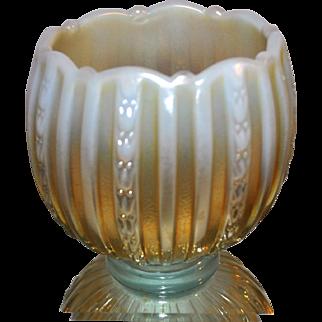 Fenton 2005 100 Anniversary Aqua Opalescent and Marigold Votive over 5 inches
