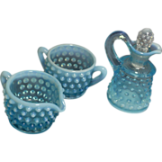 Fenton 1940 Blue Opalescent Hob Nail Creamer, Sugar, and Cruet with topper (Reduced)