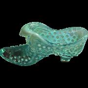 Fenton Aqua Opalescent Hobnail Cat Head Shoe