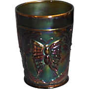 "Fenton Butterfly and Fern Green Carnival Glass Tumbler ""Bargain"""