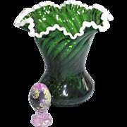 "Fenton 1950 ""scarce"" large Emerald Snow Crest Large 8.5 inch  Optic Swirl Vase ""Rarity"""