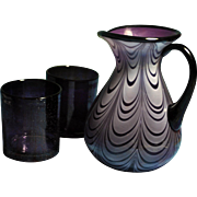 Fenton Dave Fetty 2007 Aubergine Opalescent Purple Lavender Drapery Pattern Pitcher (with tumblers)