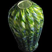 Fenton Green on Blue Aventurine Vasa Murrhina 9.5 inch Flat Top Melon Ribbed Vase