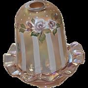 Fenton Rambling Rose on Sunset Opalescent Stretch Autumn Iridescent Designer Ltd. Ed. Fairy Lamp