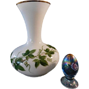Tyndale 1940 - 1950s AWCO decorated Ivy Patterned Huge Milk Glass  Vase / 22kt gold accents