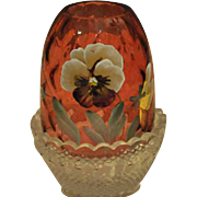 "Fenton Pansies on Cranberry Opalescent Crystal base Fairy Lamp ""22kt Gold Pansies"""