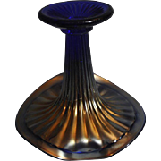 Vintage Northwood Blue Carnival Glass Jack in a Pulpit Vase with a Thin and Wide Rib pattern