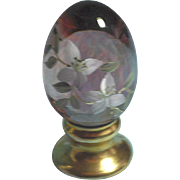 Fenton Christmas: Fenton Ltd Ed 1850/2500 Egg - Transparent Cranberry with White Flowers, Vines, Green Leaves, Gold Accents on Pedestal