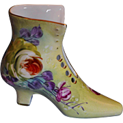 Limoges Yellow and Floral Porcelain Shoe.