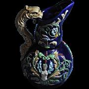 Majolica Czechoslovakian Vintage Cobalt Blue Glazed Sea Dragon Sirens Pitcher gm792 L@@K