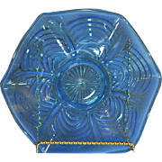 Northwood  (1908) Blue Opalescent 9 inch Octagonal FlatBowl with the Reverse Drapery Pattern
