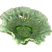Northwood vintage Green Carnival Glass with Opalescence 8 1/2 inch diameter ruffled Bowl Meander pattern