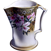 Antique Nippon Tankard / Pitcher with gold bead and floral design marked on bottom as authentic