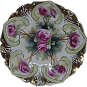 R S Prussia 7 inch Plate 278, Mold 78 Gold Gilded with Happ Signature and RSP mark on back 1884