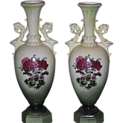Antique 150 year old plus Austrian Vases 15 inches tall