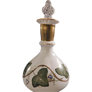 "Fenton ""Scarce"" 1950s' AWCO decorated Charleton Ivy Pattern on a Milk Glass Vanity Bottle and Coin Dot Crystal Stopper"