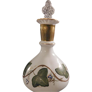 """Fenton """"Scarce"""" 1950s' AWCO decorated Charleton Ivy Pattern on a Milk Glass Vanity Bottle and Coin Dot Crystal Stopper"""