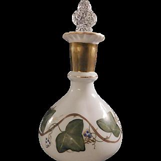 Fenton AWCO Charleton Milk Glass Ivy Decorated Dresser Bottle Coin Dot Stopper