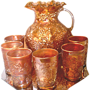 Early 1900s Dugan & Diamond Glass Co. Marigold Carnival Floral Grape pattern Water Pitcher & 6 Tumblers