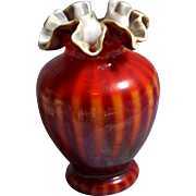 "Fenton ""Rarities"" Plated Amberina  6 inch tall DC top edge  Vase ""very rare"" - Pictured in Fenton Rarities"