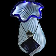 Fenton 85th Anniversary Cobalt Crest Spiral Otic Opalescent Vase