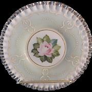 Fenton AWCO 8.5 inch Charleton Green Mist Rococo Plate Silvercrest
