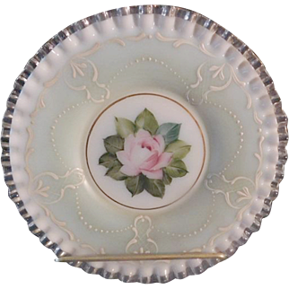 Fenton 1950s AWCO decorated 8.5 inch Charleton Green Mist Rococo Plate Silvercrest (2 available)