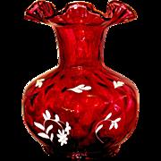 Fenton, 1992, QVC, C6450 8J, Cranberry Diamond Optic Vase (Huge) with White Frit Flowers