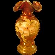 Fenton 2002 Amberina Woodland Bouquet, 6.5 inch vase, designer/artist J K Spindler