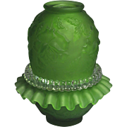 Fenton for L. G. Wright  3 piece Fairy Lamp Apple Green Satin Finish Rose pattern