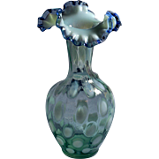 """Fenton """"unusual"""" Lime Opalescent Coin Dot 9 inch tall ruffled Vase Bent, Triangle Crimped Cobalt Crest Edge"""
