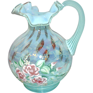Fenton 1996 Blush Rose on Opaline Pitcher Hand Painted