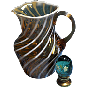 Fenton Vintage Cameo Opalescent Spiral Optic Pitcher 44 oz.