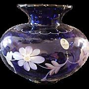 Fenton 1998 Designer Frances Burton Royal Purple On Colonial Scroll Vase