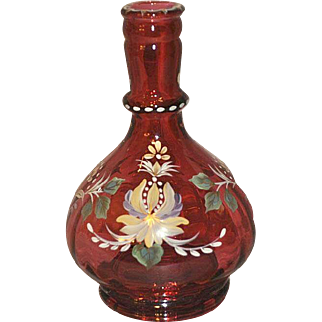 Fenton 1997 Historic Collection Cranberry Rib Optic Bottle Designer Martha Reynolds