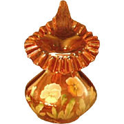 "Fenton Pansies ""Gold"" On Cranberry CW 1999 Jack In The Pulpit ""Tulip"" Vase"