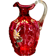 Fenton 1995 Provincial On Cranberry Bottle with Filigree