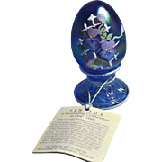 Fenton Christmas Limited Edition #1416/2000, Blue iridescent Pedestal Egg with Lattice Work and Floral Design