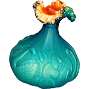 Fenton 1984 Connoisseur Collection Gold Blue Azure Swan Vase with Cattails *FS Domestic
