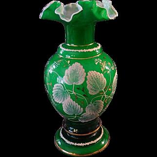 """Fenton """"Scarce"""" circa 1950s' AWCO decorated Charleton Ivory Leaves & Needles Pattern Vase #194"""