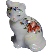 Fenton 3 3/4 inch tall white iridescent Sitting Cat #5165 Figurine Hearts and Flowers - YP 1988 - 1993 ( Reduced )
